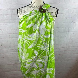 NWT Sarong Bathing Suit Cover Up Lime White Floral